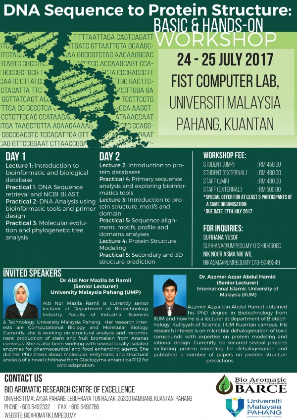 DNA Sequence to Protein Structure: Basic and Hands On Workshop